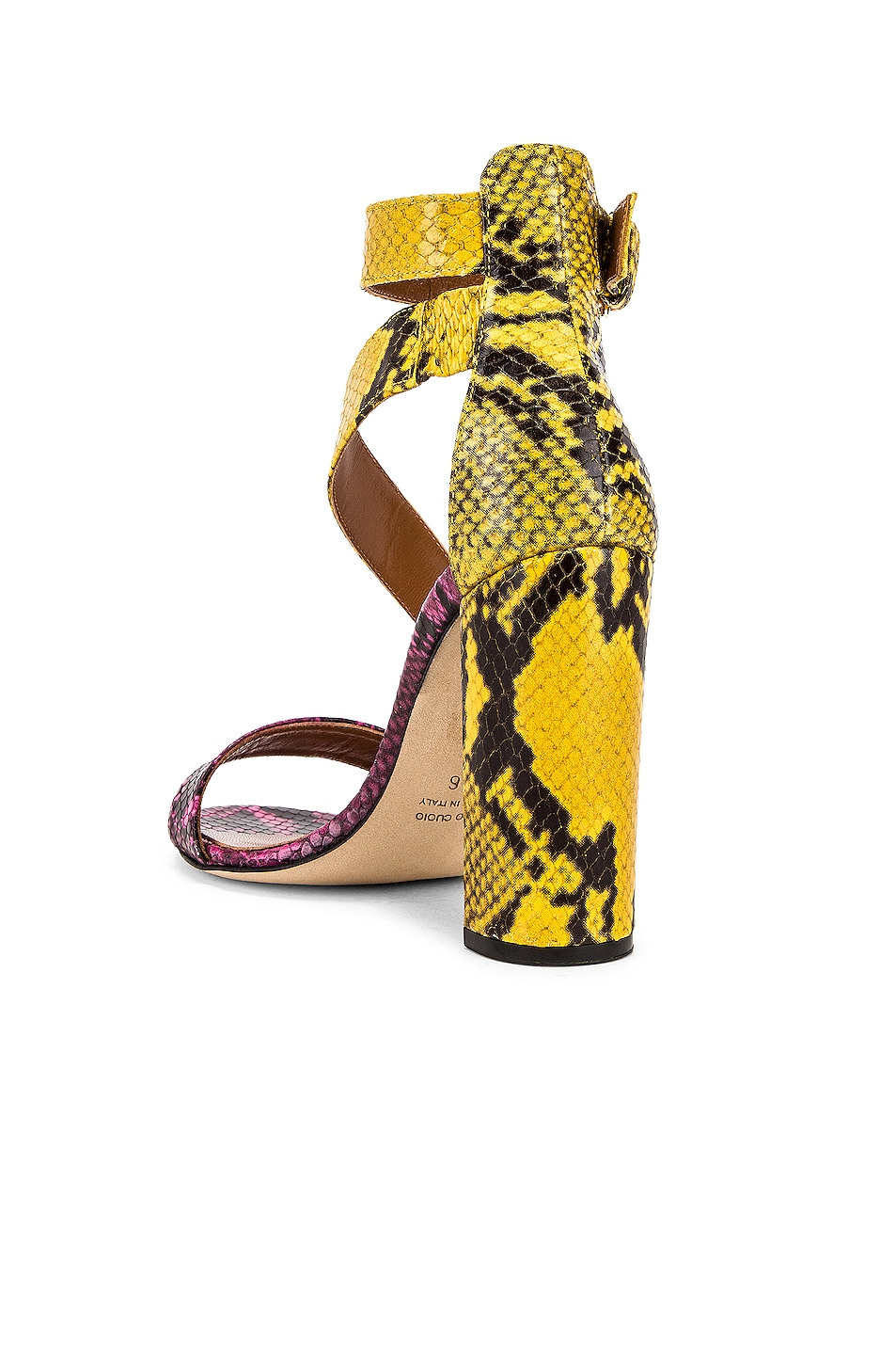 Image 3 of Paris Texas Diagonal Strap Snake 100 Sandal Heel in Fuchsia & Yellow