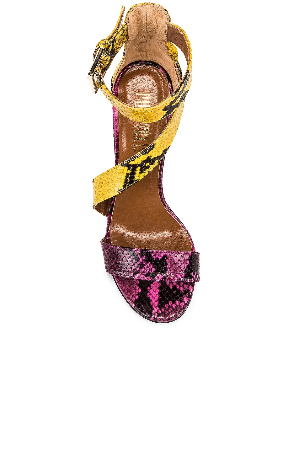 Image 4 of Paris Texas Diagonal Strap Snake 100 Sandal Heel in Fuchsia & Yellow