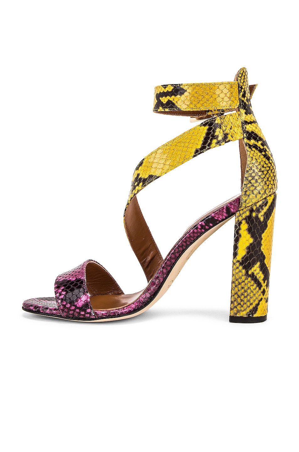 Image 5 of Paris Texas Diagonal Strap Snake 100 Sandal Heel in Fuchsia & Yellow