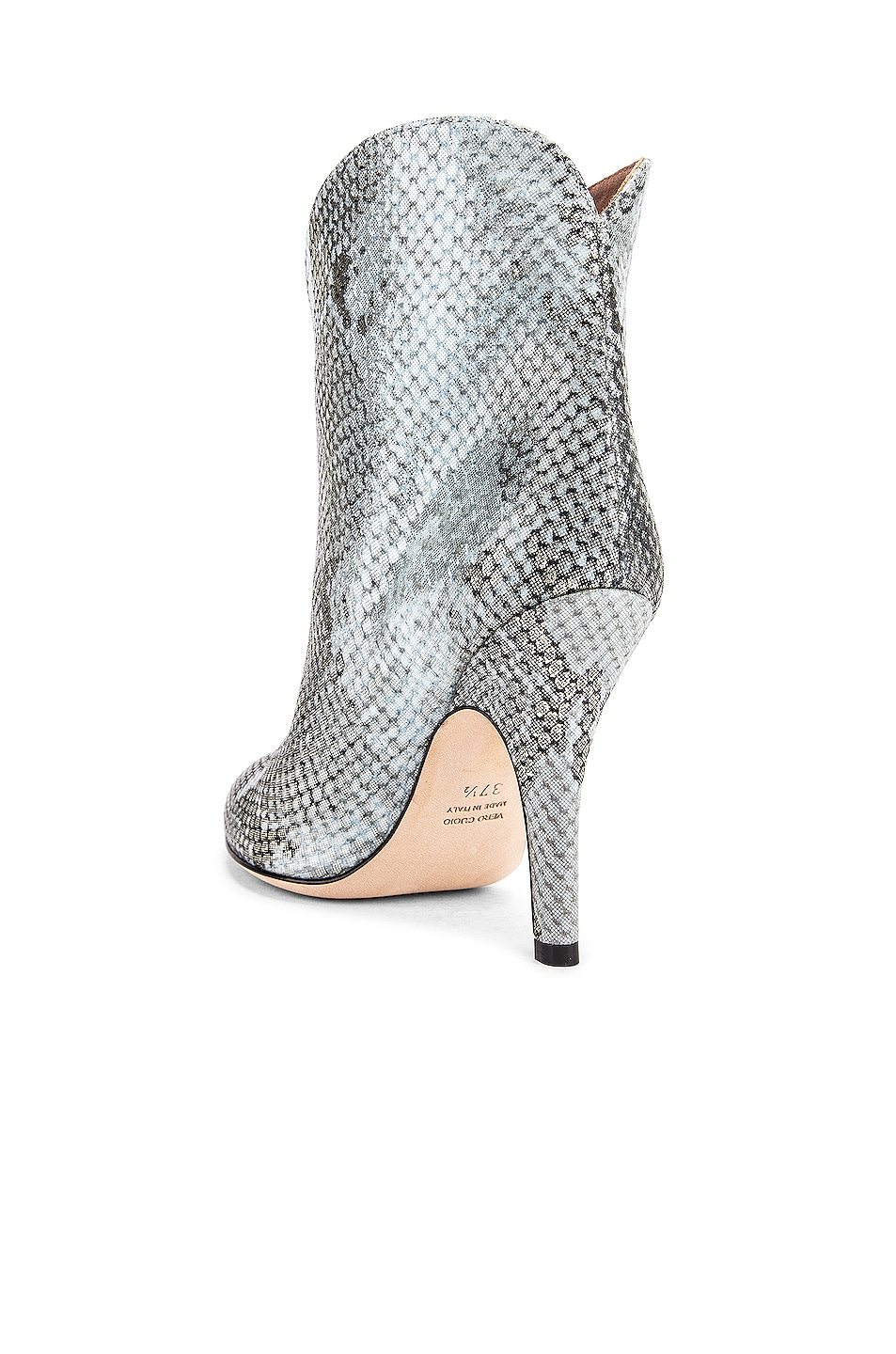 Image 3 of Paris Texas Python Lame Print Rounded Print Stiletto Ankle Boot in Light Blue