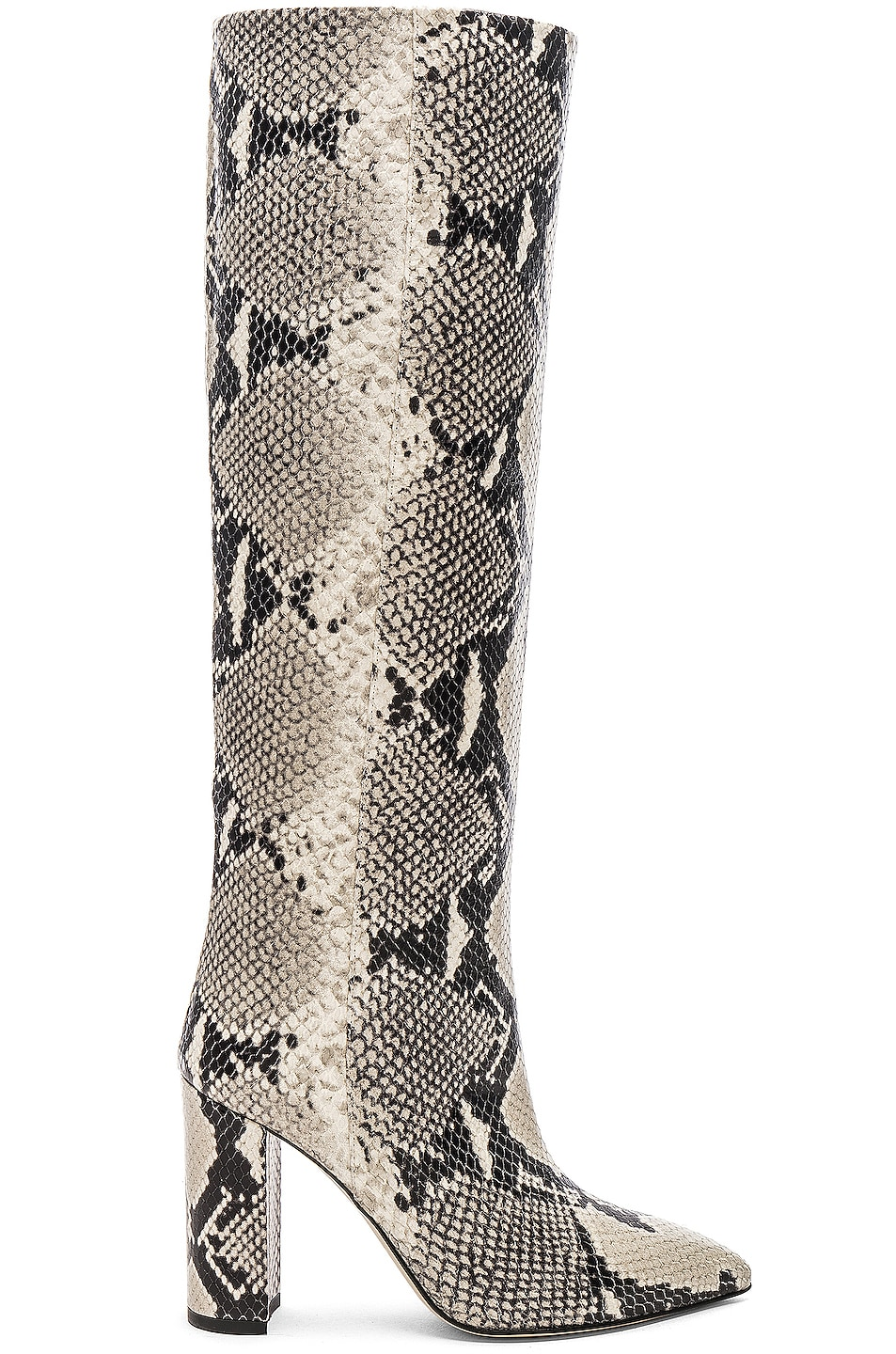 Image 1 of Paris Texas Knee High Python Print Boot in Natural