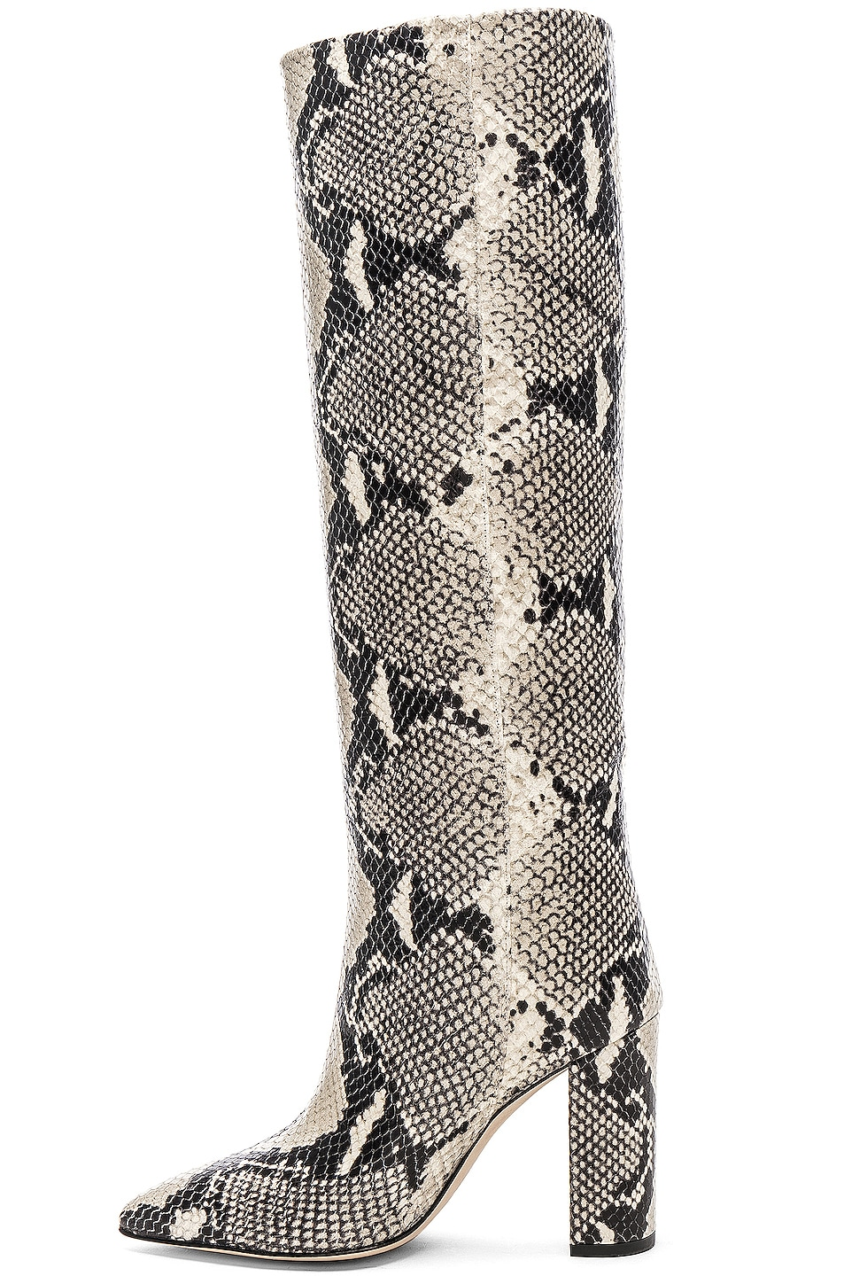 Image 5 of Paris Texas Knee High Python Print Boot in Natural