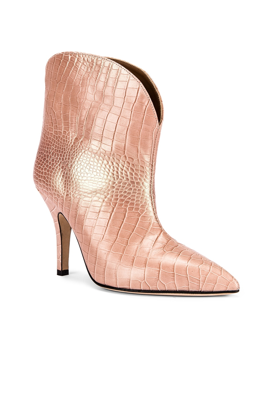 Image 2 of Paris Texas Iridescent Moc Croco Rounded Stiletto Ankle Boot in Pink