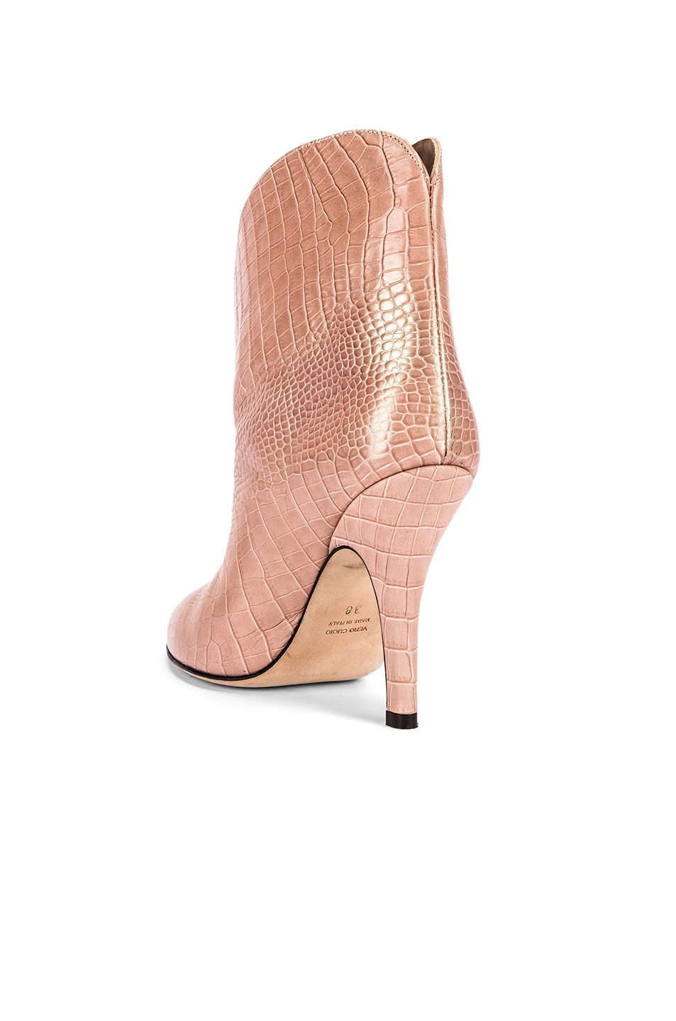 Image 3 of Paris Texas Iridescent Moc Croco Rounded Stiletto Ankle Boot in Pink
