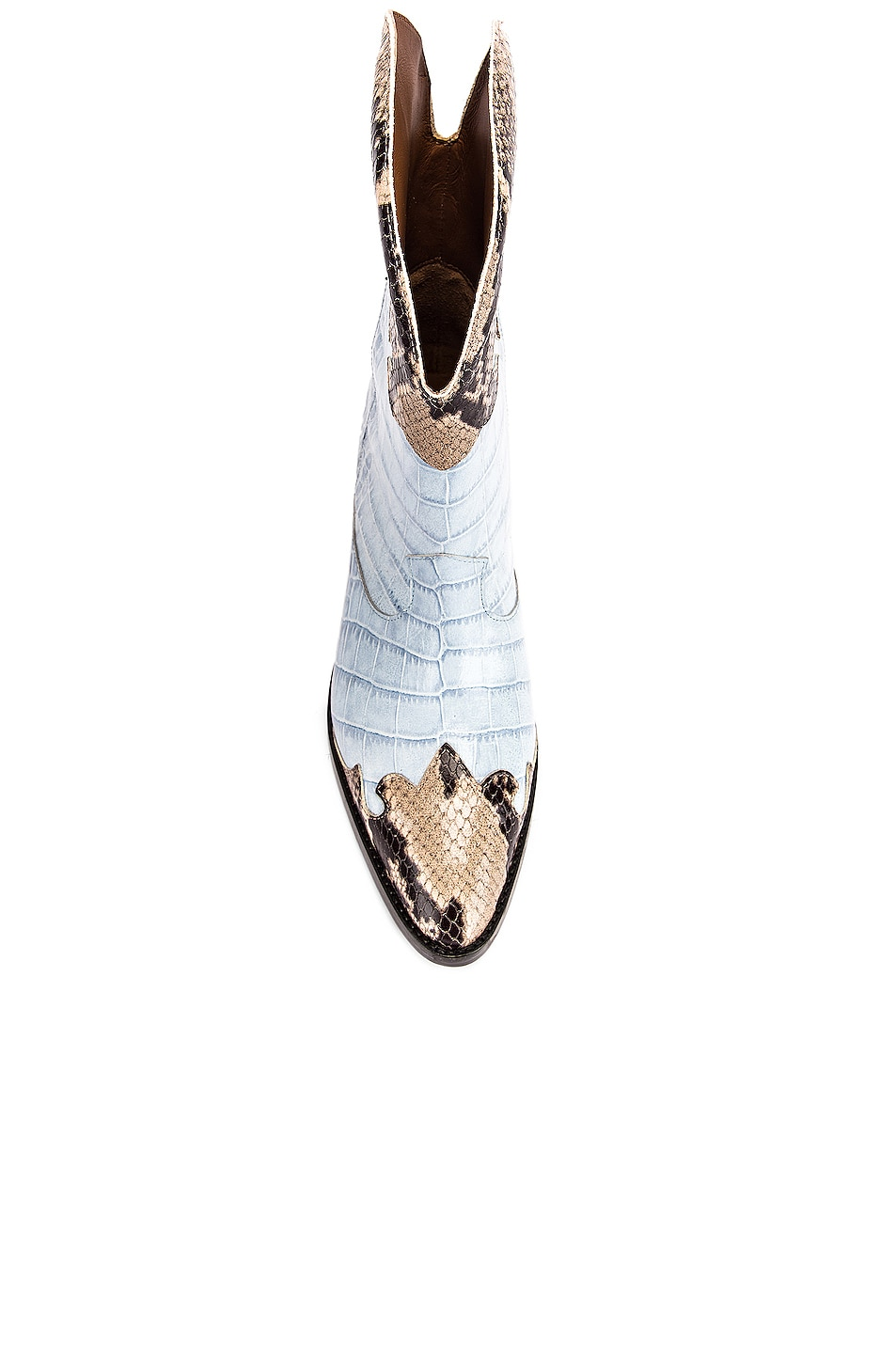 Image 4 of Paris Texas Python Print and Moc Croco Texano Boot in Light Blue & Natural