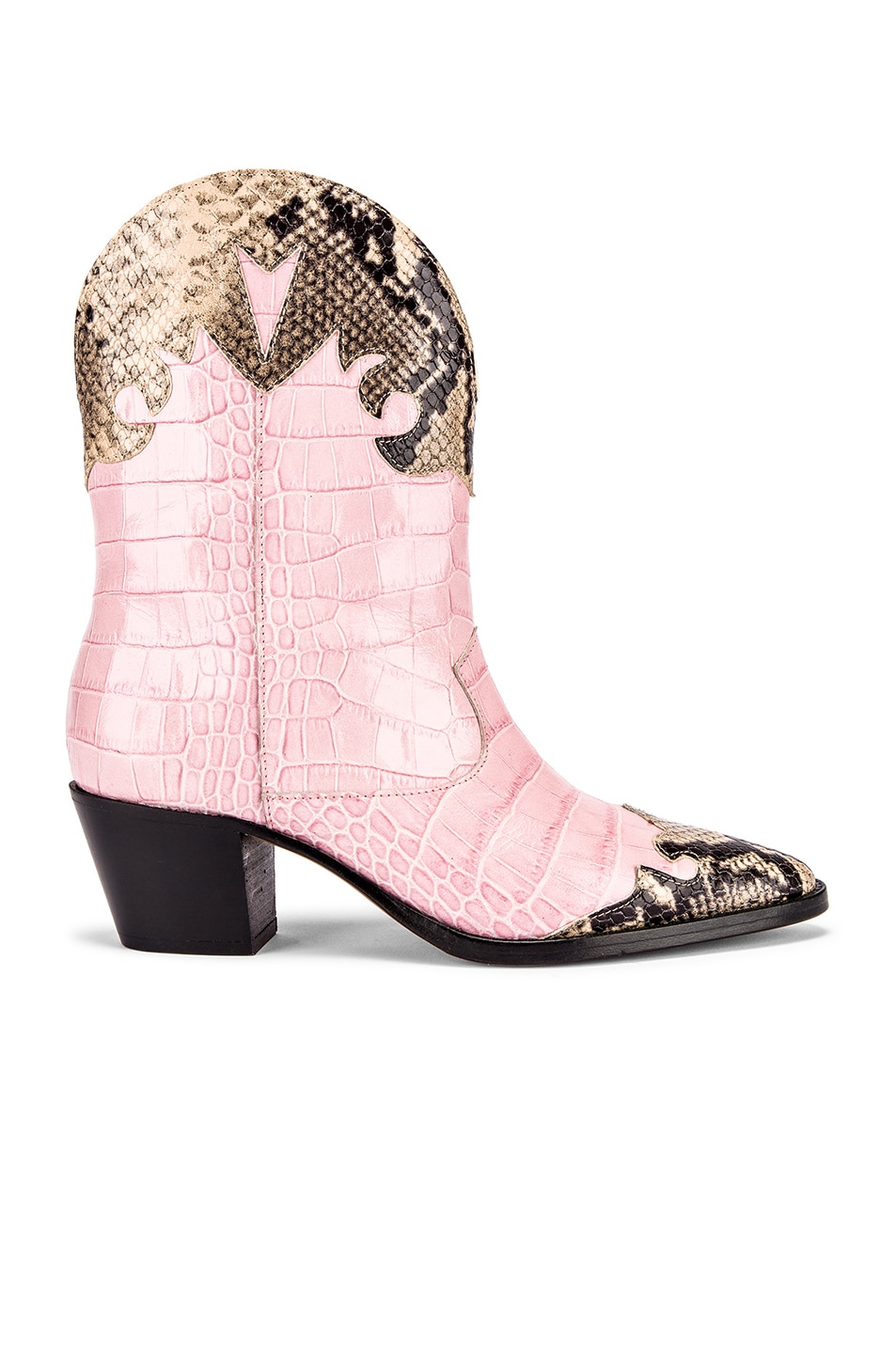 Image 1 of Paris Texas Python Print and Moc Croco Texano Boot in Light Pink & Natural