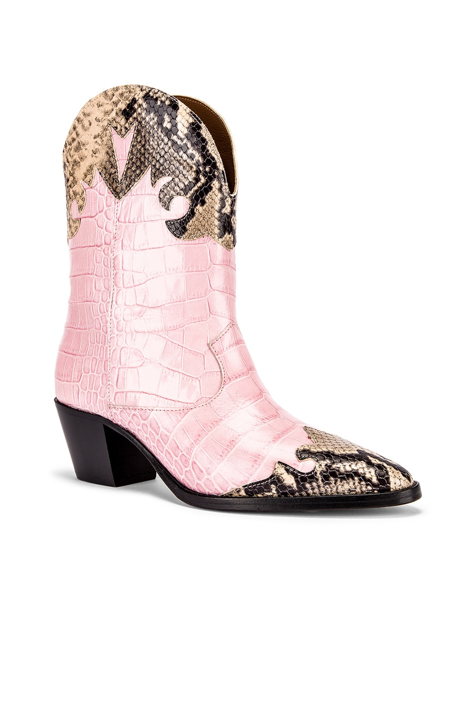 Image 2 of Paris Texas Python Print and Moc Croco Texano Boot in Light Pink & Natural