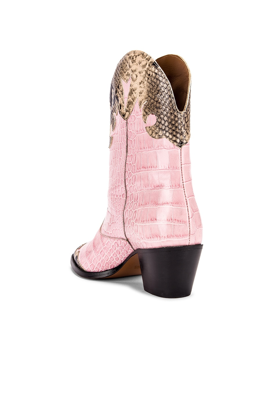 Image 3 of Paris Texas Python Print and Moc Croco Texano Boot in Light Pink & Natural