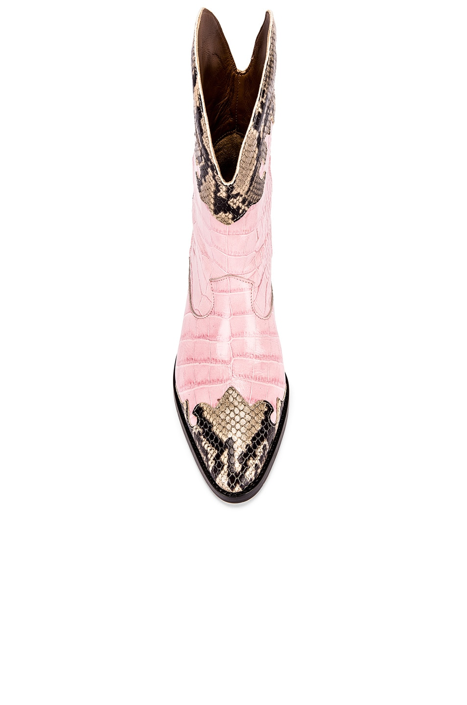 Image 4 of Paris Texas Python Print and Moc Croco Texano Boot in Light Pink & Natural