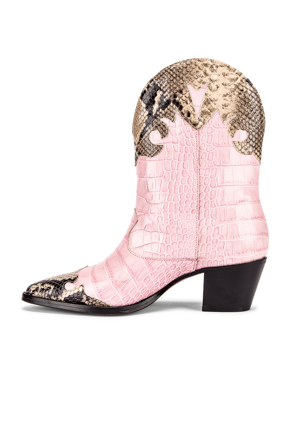 Image 5 of Paris Texas Python Print and Moc Croco Texano Boot in Light Pink & Natural