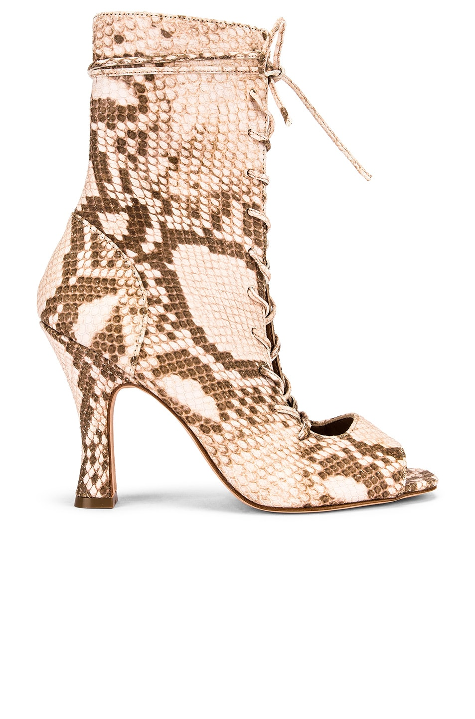 Image 1 of Paris Texas Faded Python Print Lace Up Bootie in Faded Pink