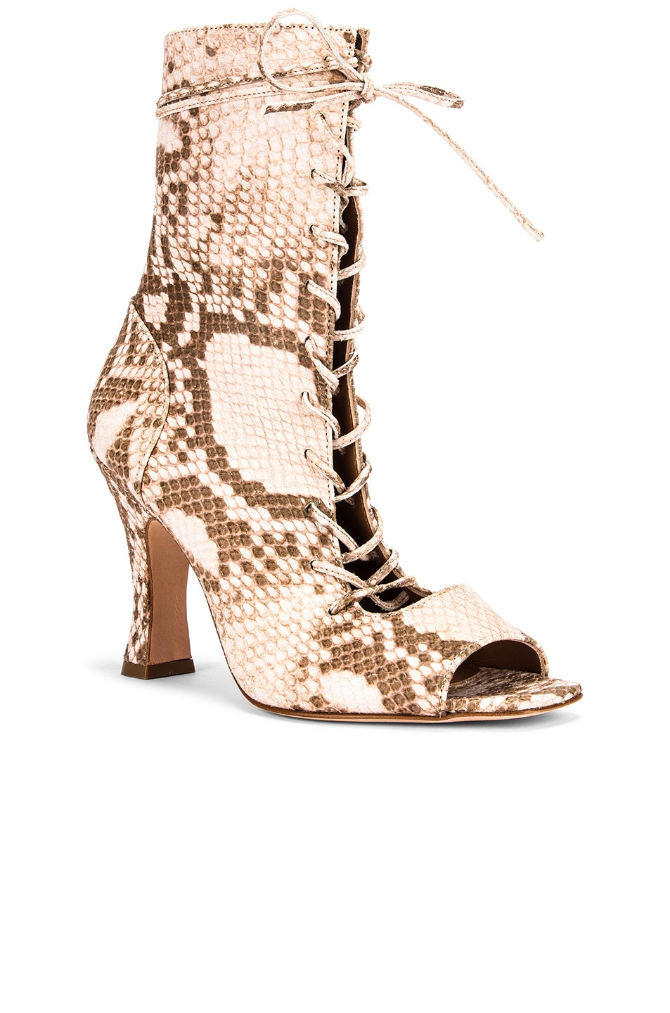 Image 2 of Paris Texas Faded Python Print Lace Up Bootie in Faded Pink