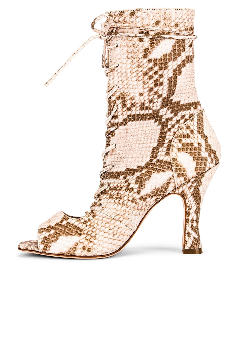 Image 5 of Paris Texas Faded Python Print Lace Up Bootie in Faded Pink