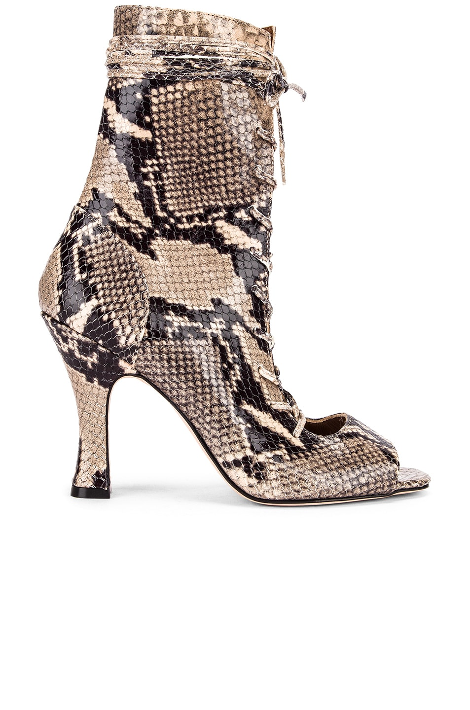Image 1 of Paris Texas Python Print Lace Up Bootie in New Natural