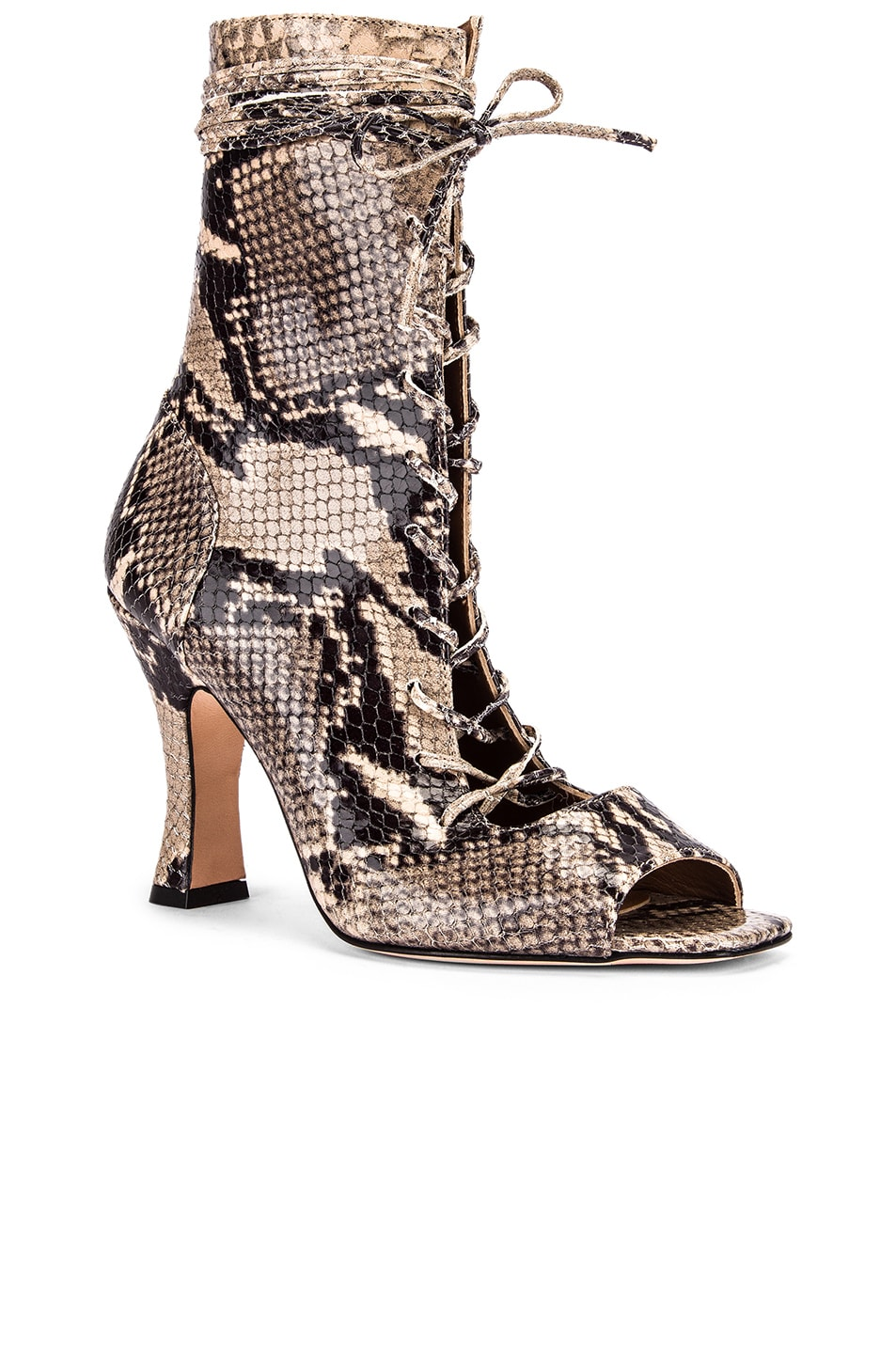 Image 2 of Paris Texas Python Print Lace Up Bootie in New Natural