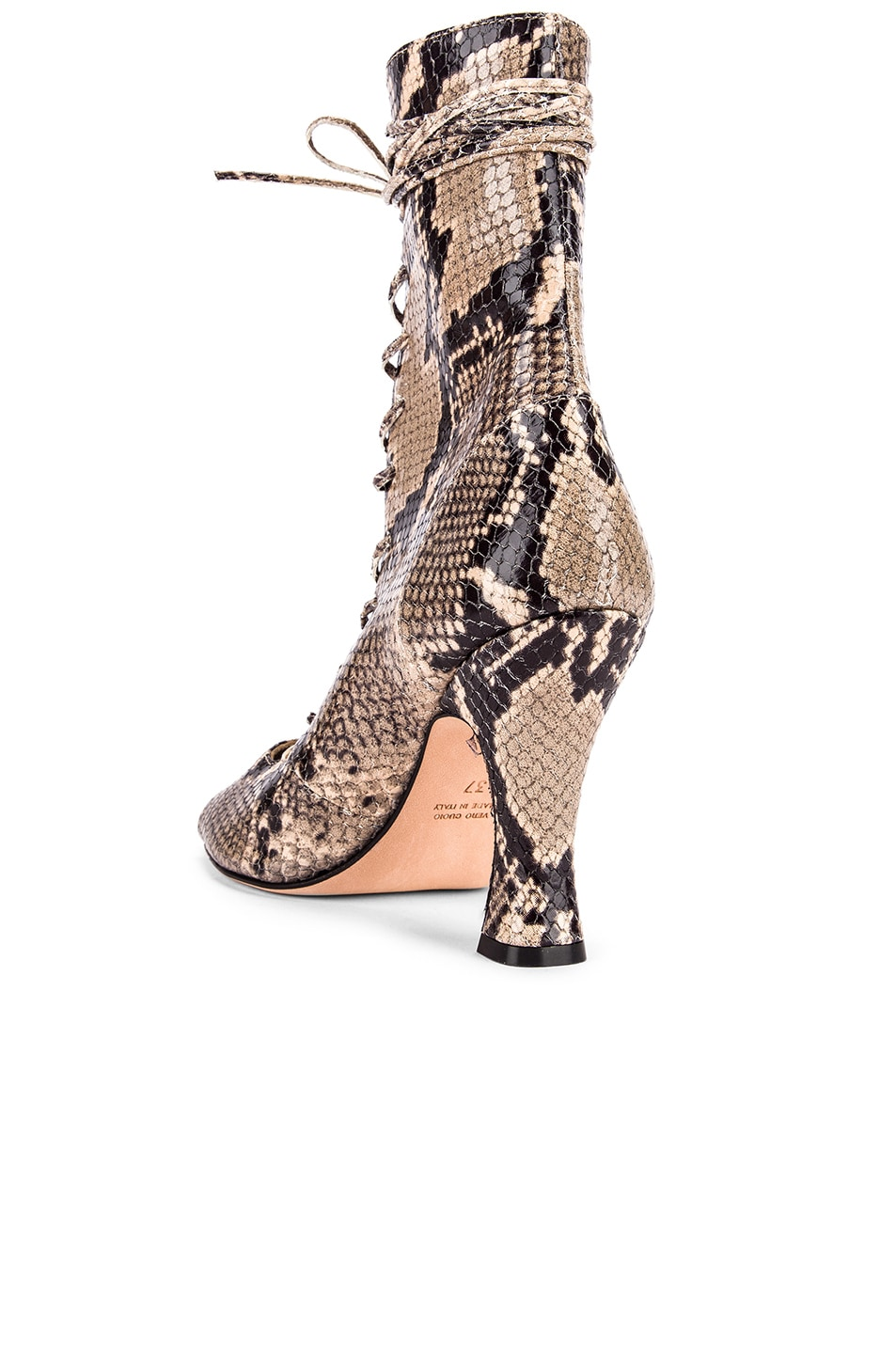 Image 3 of Paris Texas Python Print Lace Up Bootie in New Natural