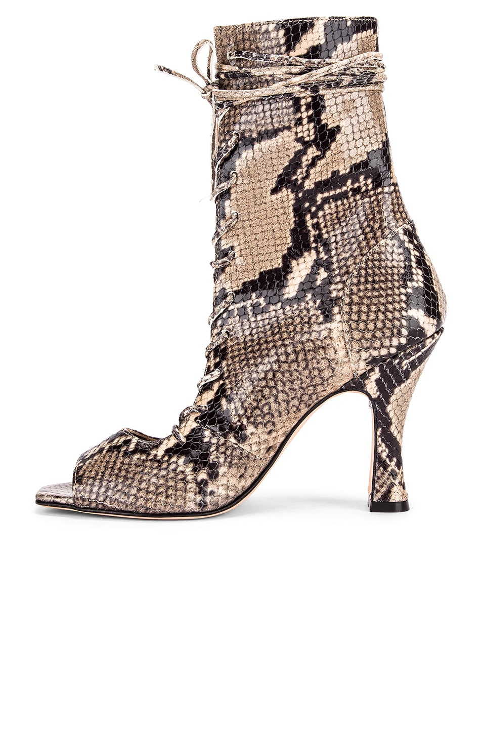 Image 5 of Paris Texas Python Print Lace Up Bootie in New Natural