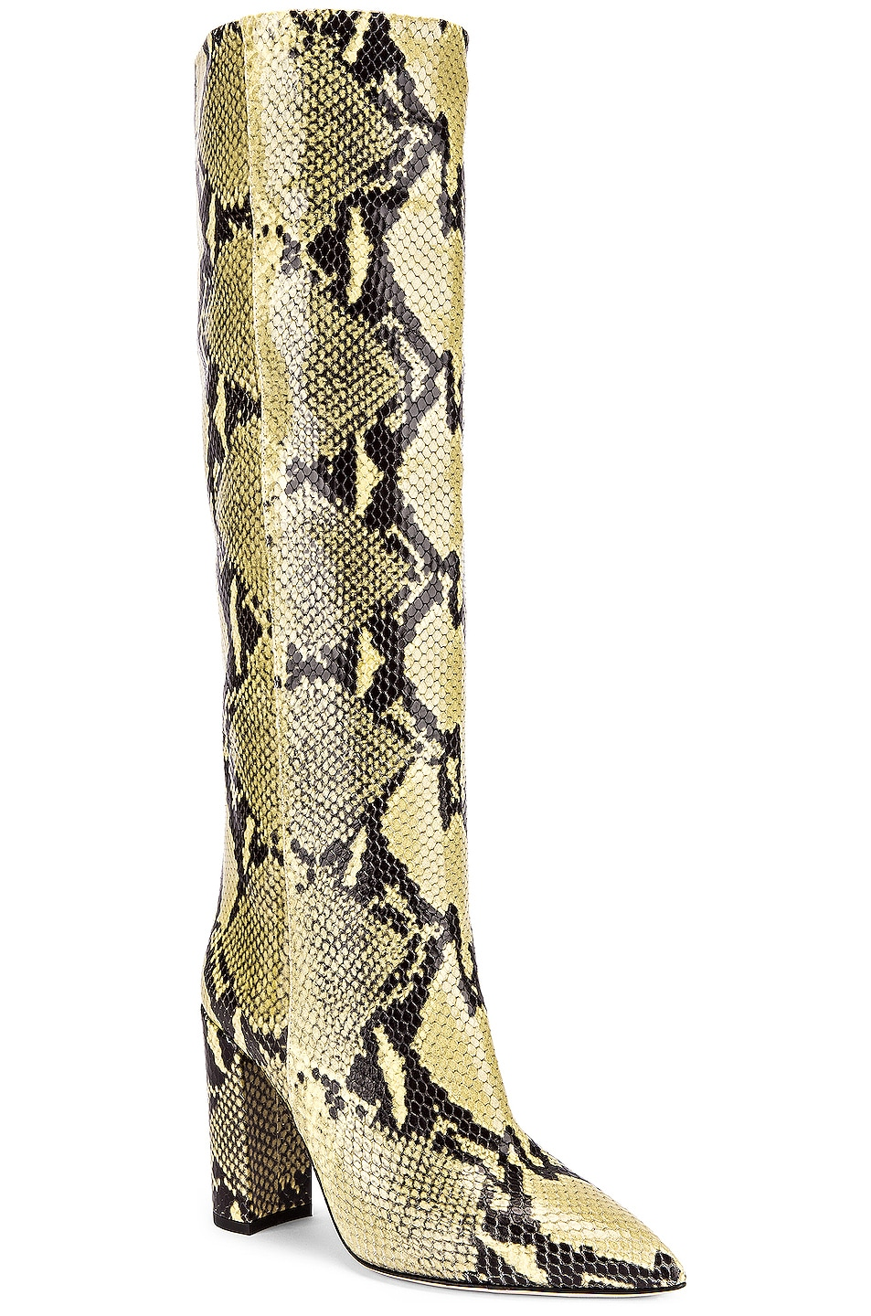 Image 2 of Paris Texas Knee High Python Print Boot in Chartreuse