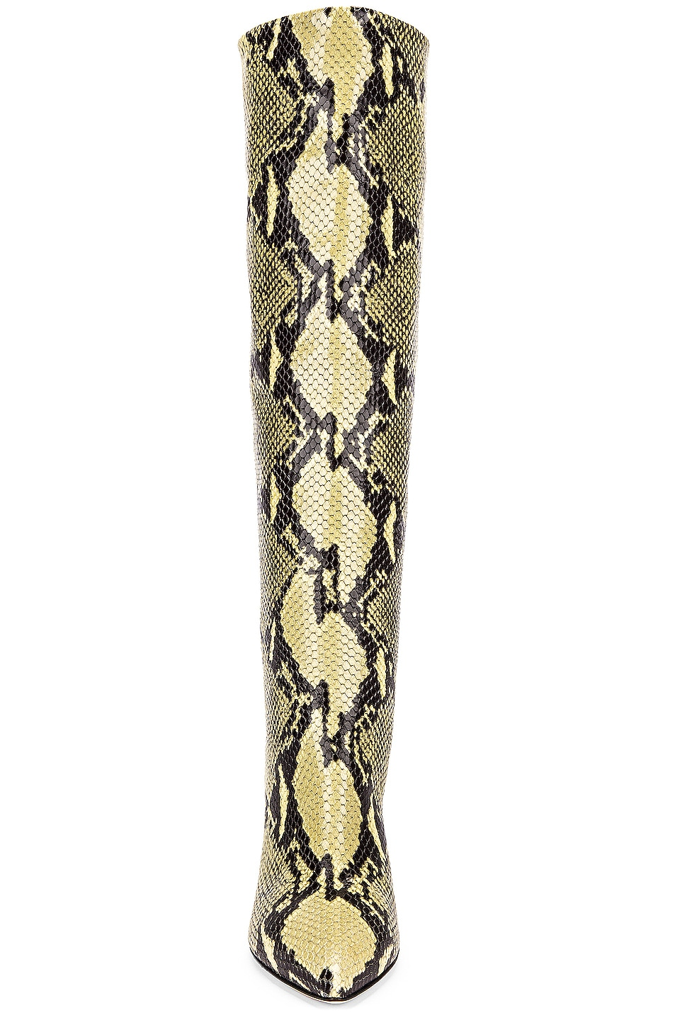 Image 4 of Paris Texas Knee High Python Print Boot in Chartreuse