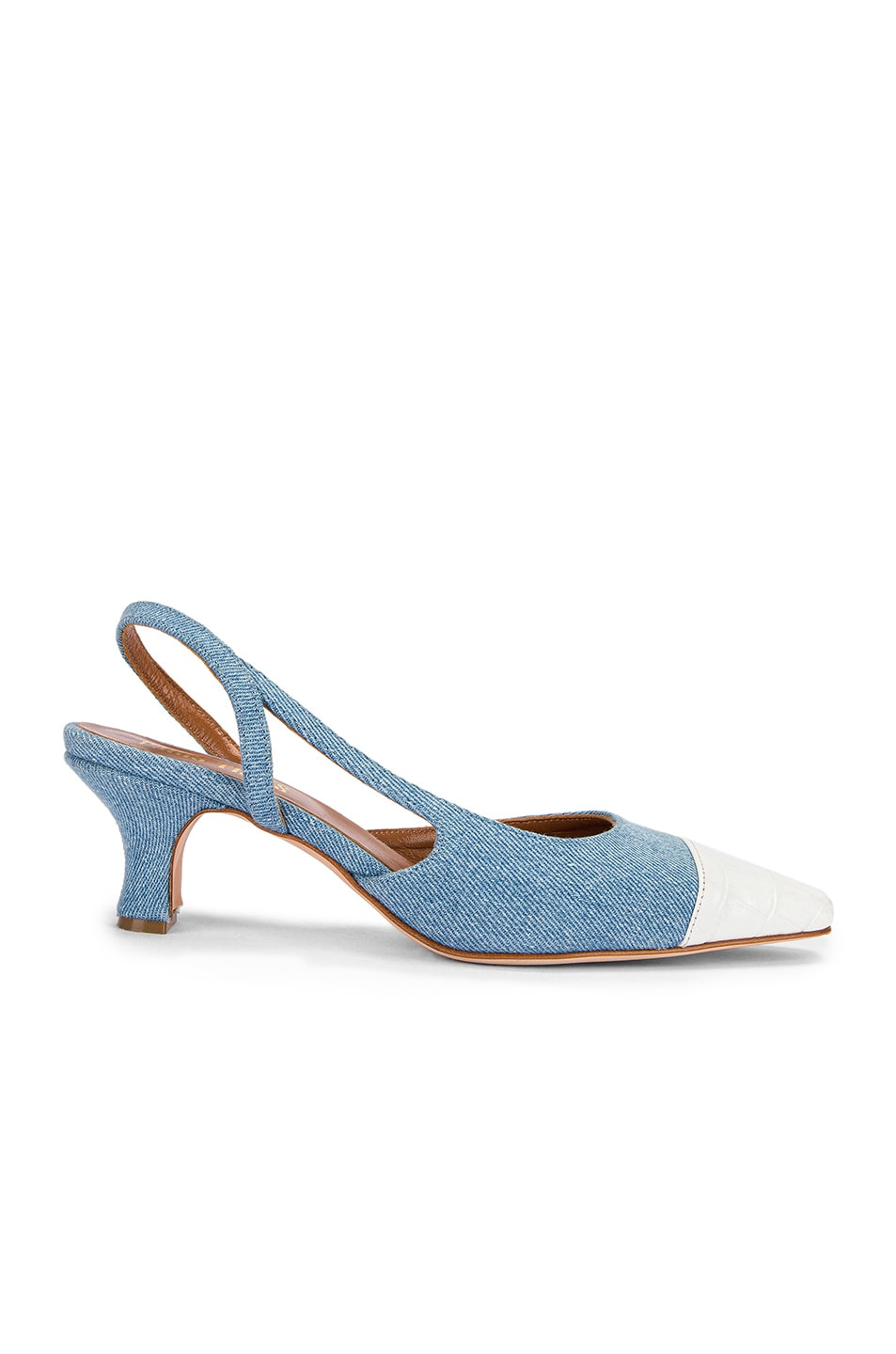 Image 1 of Paris Texas Denim and Moc Croco Slingback in Denim