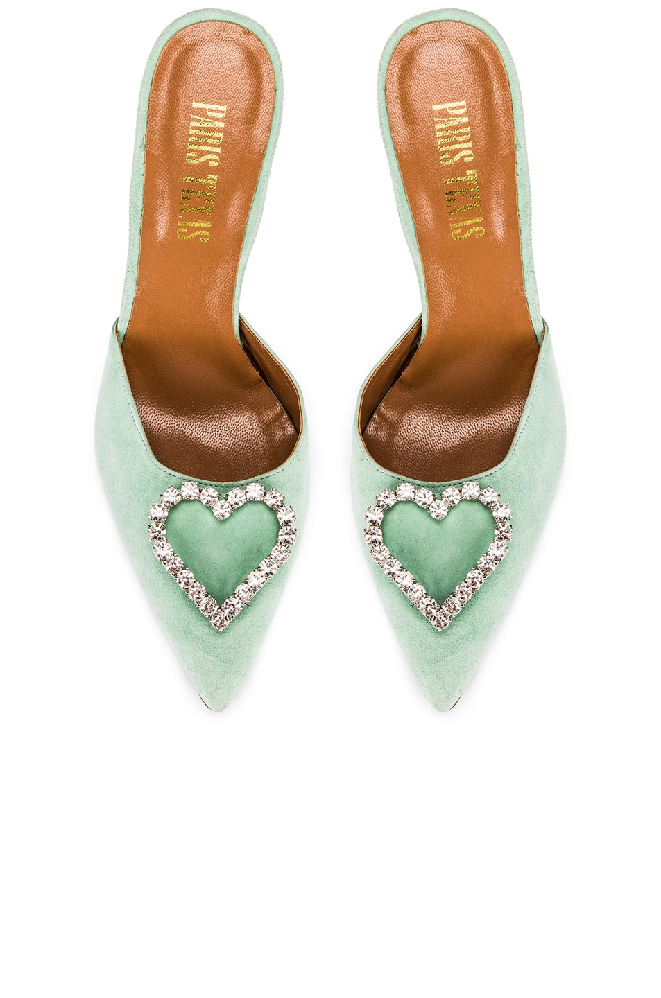Image 1 of Paris Texas Crystal and Suede Stiletto Mule in Mint