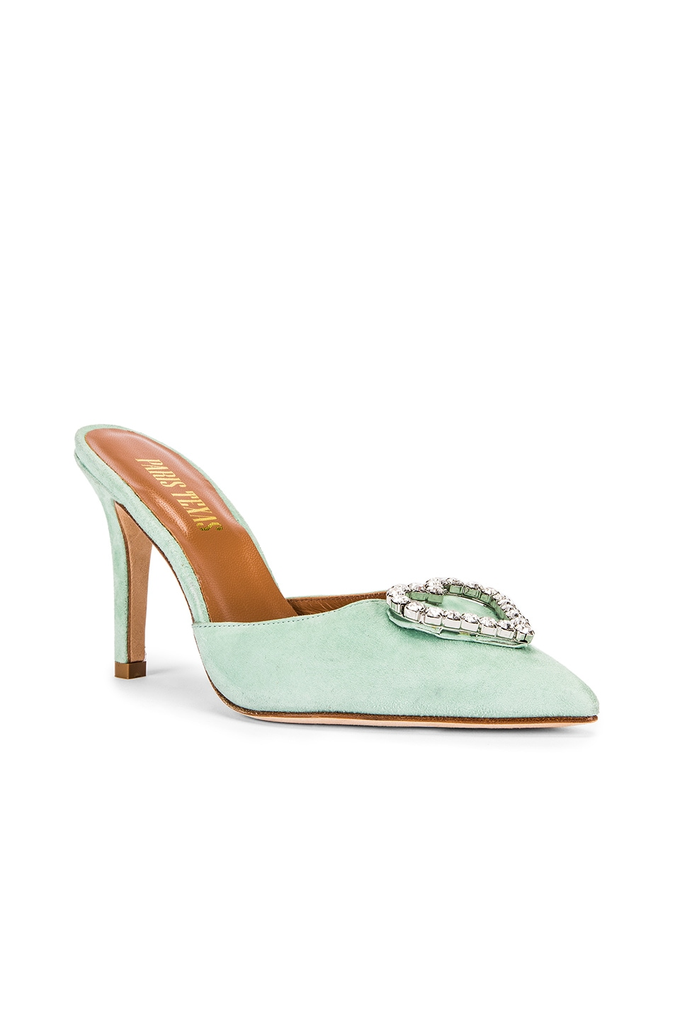 Image 3 of Paris Texas Crystal and Suede Stiletto Mule in Mint