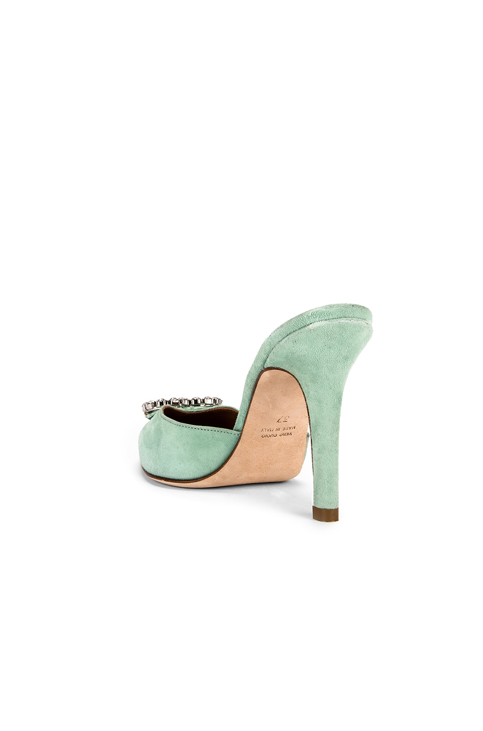 Image 4 of Paris Texas Crystal and Suede Stiletto Mule in Mint