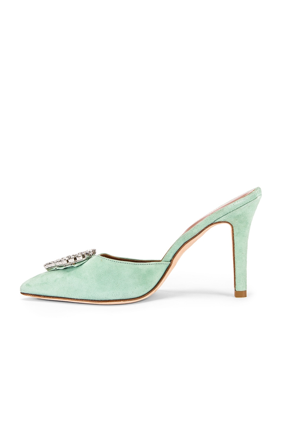 Image 5 of Paris Texas Crystal and Suede Stiletto Mule in Mint