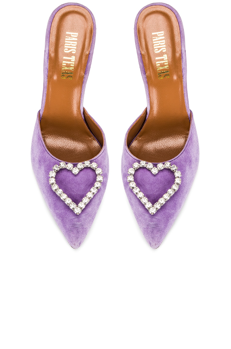 Image 1 of Paris Texas Crystal and Suede Stiletto Mule in Lilac