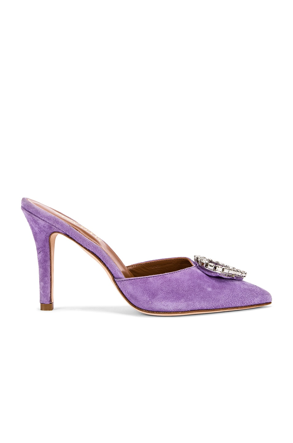 Image 2 of Paris Texas Crystal and Suede Stiletto Mule in Lilac