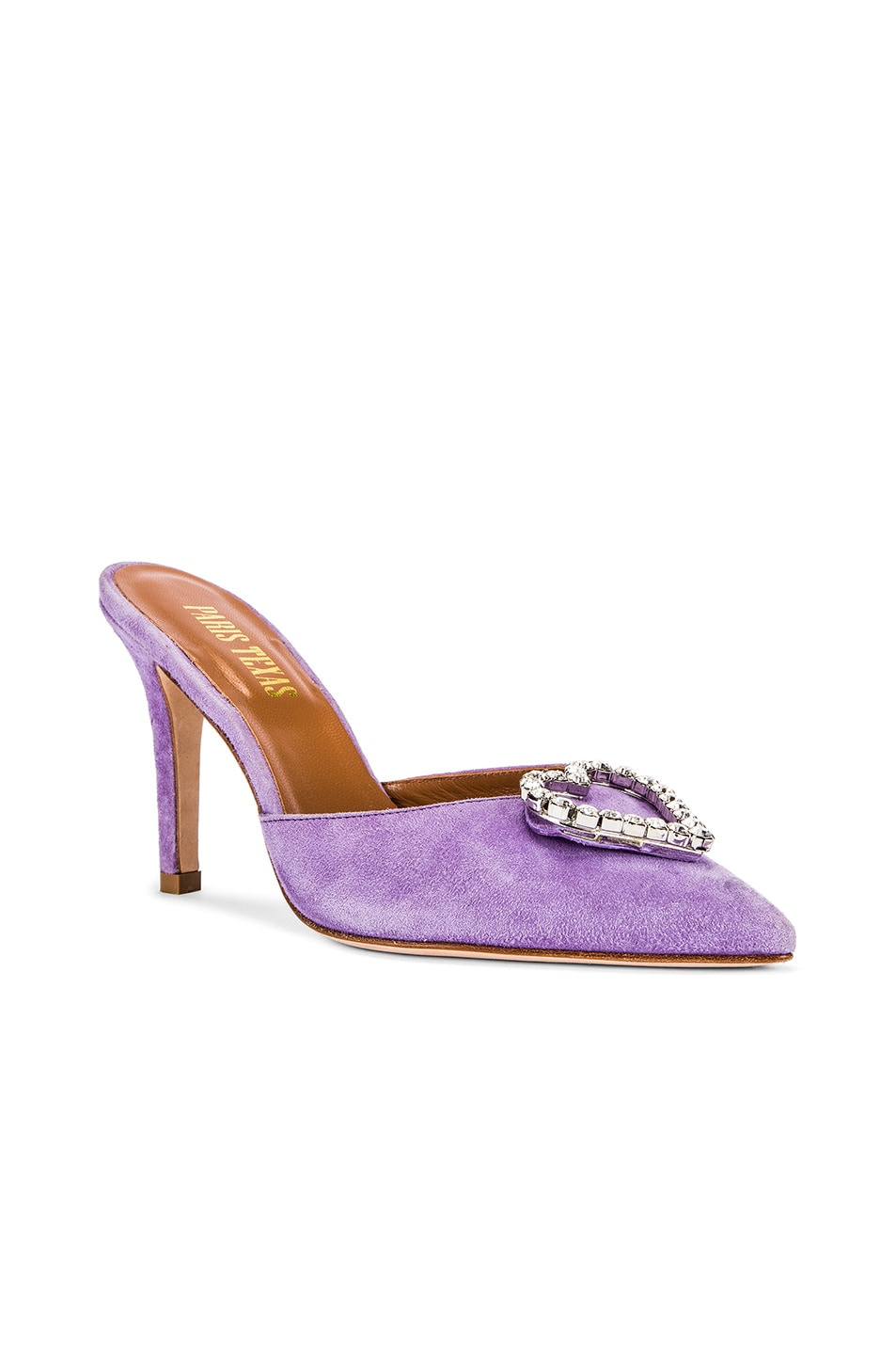 Image 3 of Paris Texas Crystal and Suede Stiletto Mule in Lilac