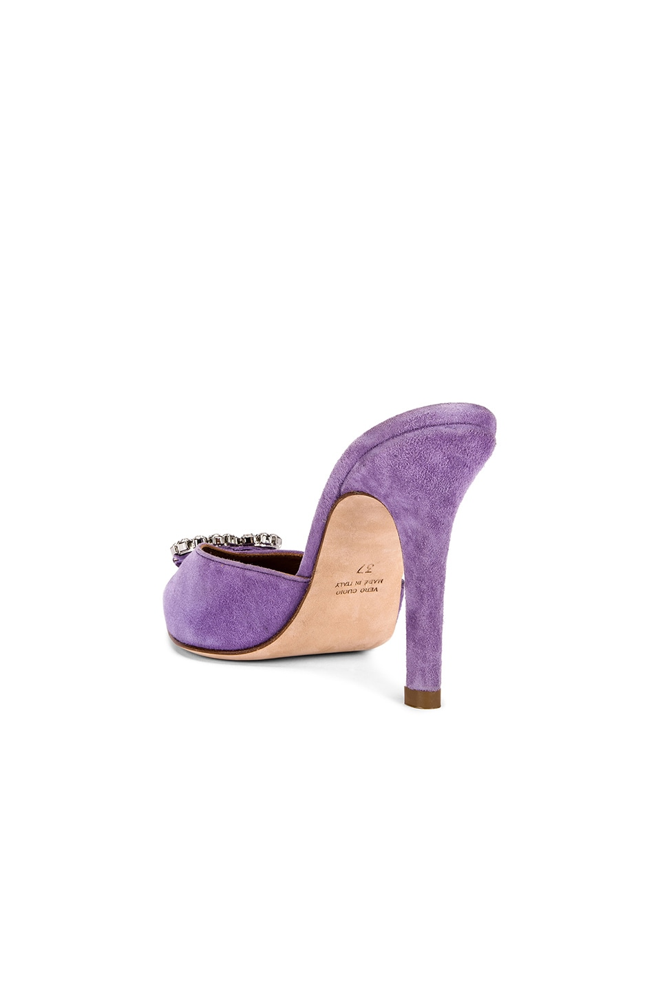Image 4 of Paris Texas Crystal and Suede Stiletto Mule in Lilac