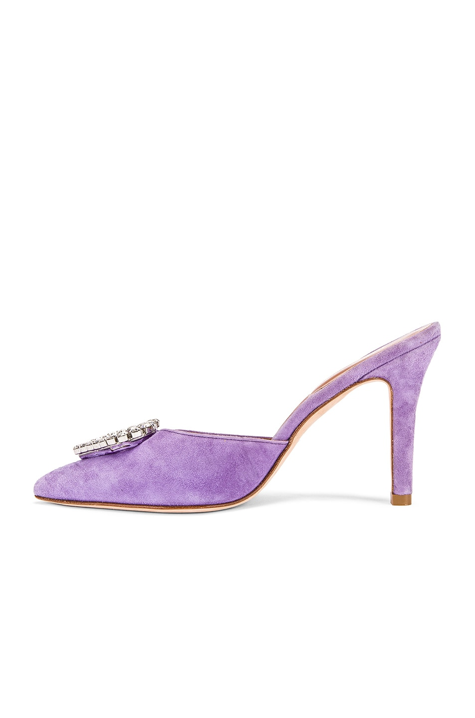 Image 5 of Paris Texas Crystal and Suede Stiletto Mule in Lilac