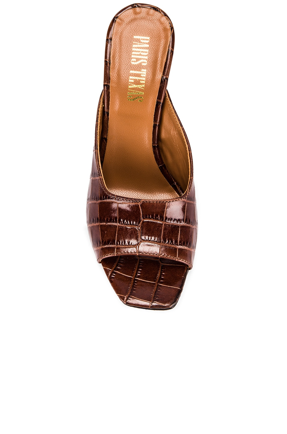 Image 4 of Paris Texas Moc Croco Square Toe Mule in Brown