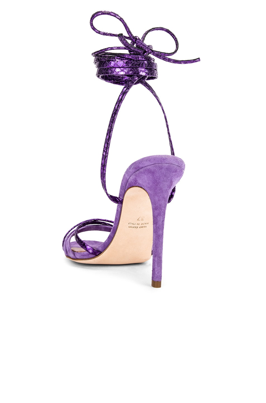 Image 3 of Paris Texas Suede and Metallic Wrap Stilettos in Lilac & Violet