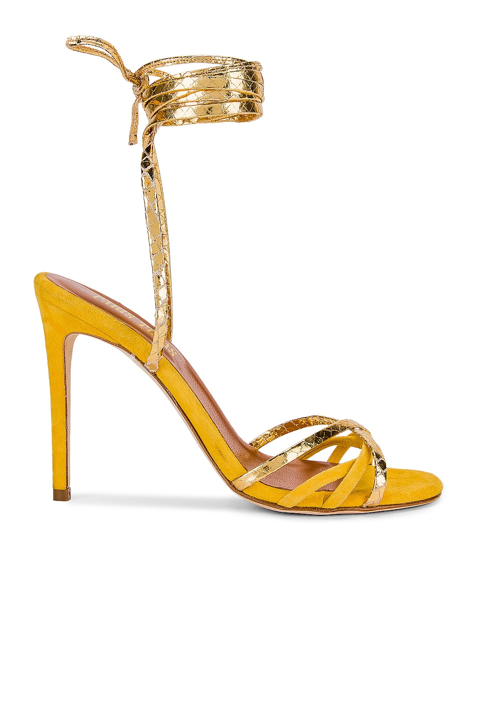 Image 1 of Paris Texas Suede and Metallic Wrap Stilettos in Yellow & Gold