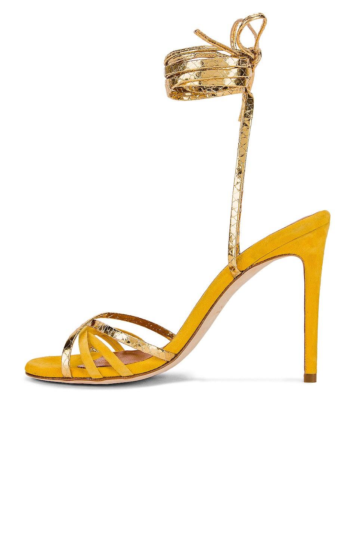 Image 5 of Paris Texas Suede and Metallic Wrap Stilettos in Yellow & Gold