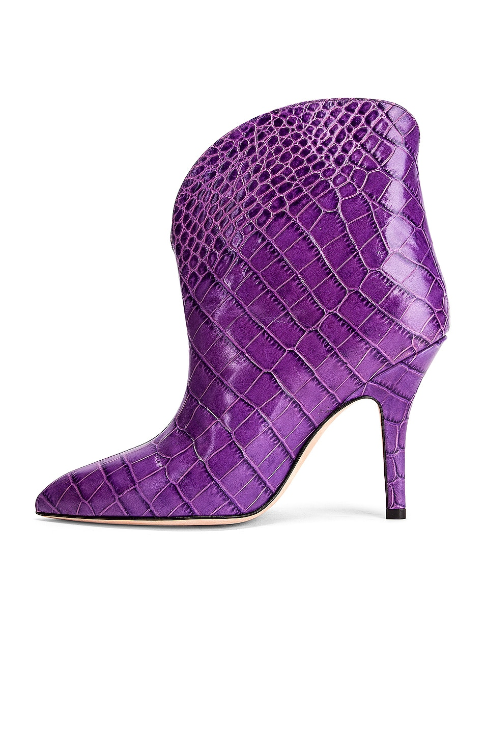 Image 5 of Paris Texas Moc Croco Rounded Stiletto Ankle Boot in Violet