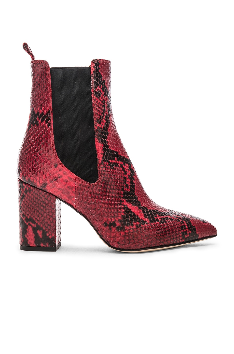 Image 1 of Paris Texas Python Print Ankle Boot in Red