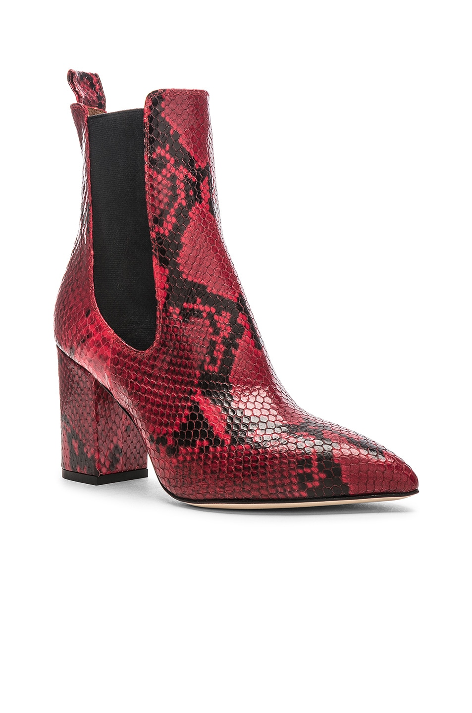 Image 2 of Paris Texas Python Print Ankle Boot in Red