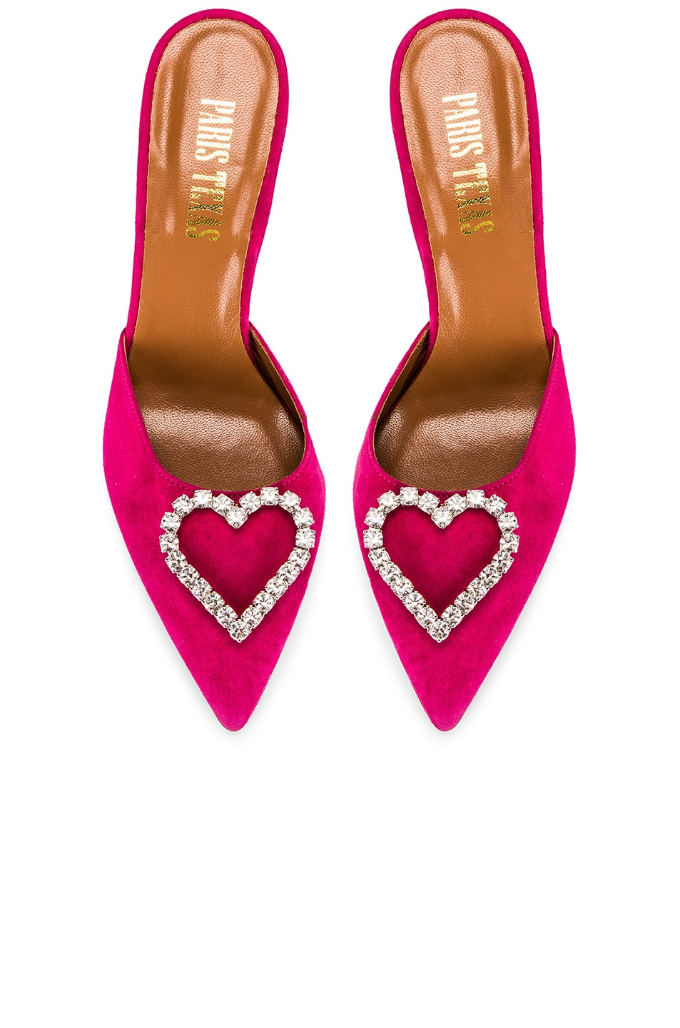 Image 1 of Paris Texas Crystal and Suede Stiletto Mule in Fuchsia