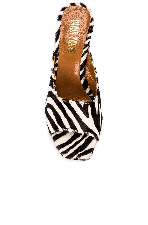 Image 4 of Paris Texas Pony Square Toe Mule in Black & White Zebra