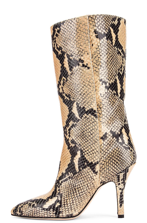 Image 5 of Paris Texas Python Print Midi Boot in Beige