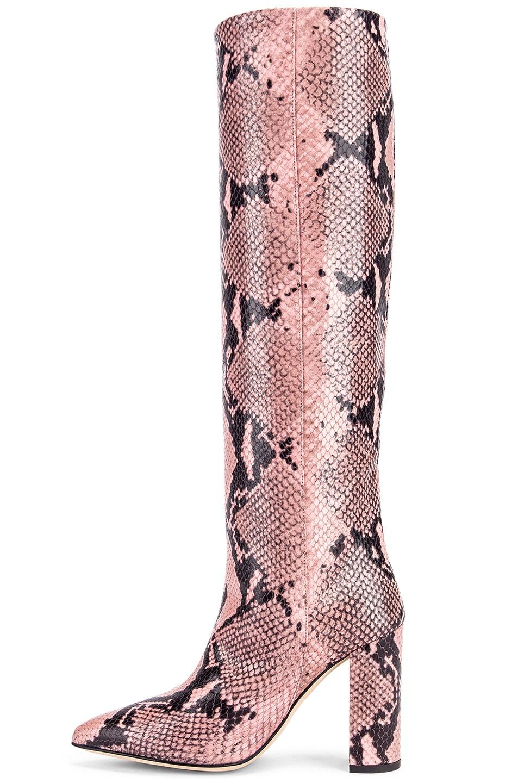Image 5 of Paris Texas Snake Print Knee High Boot in Pink