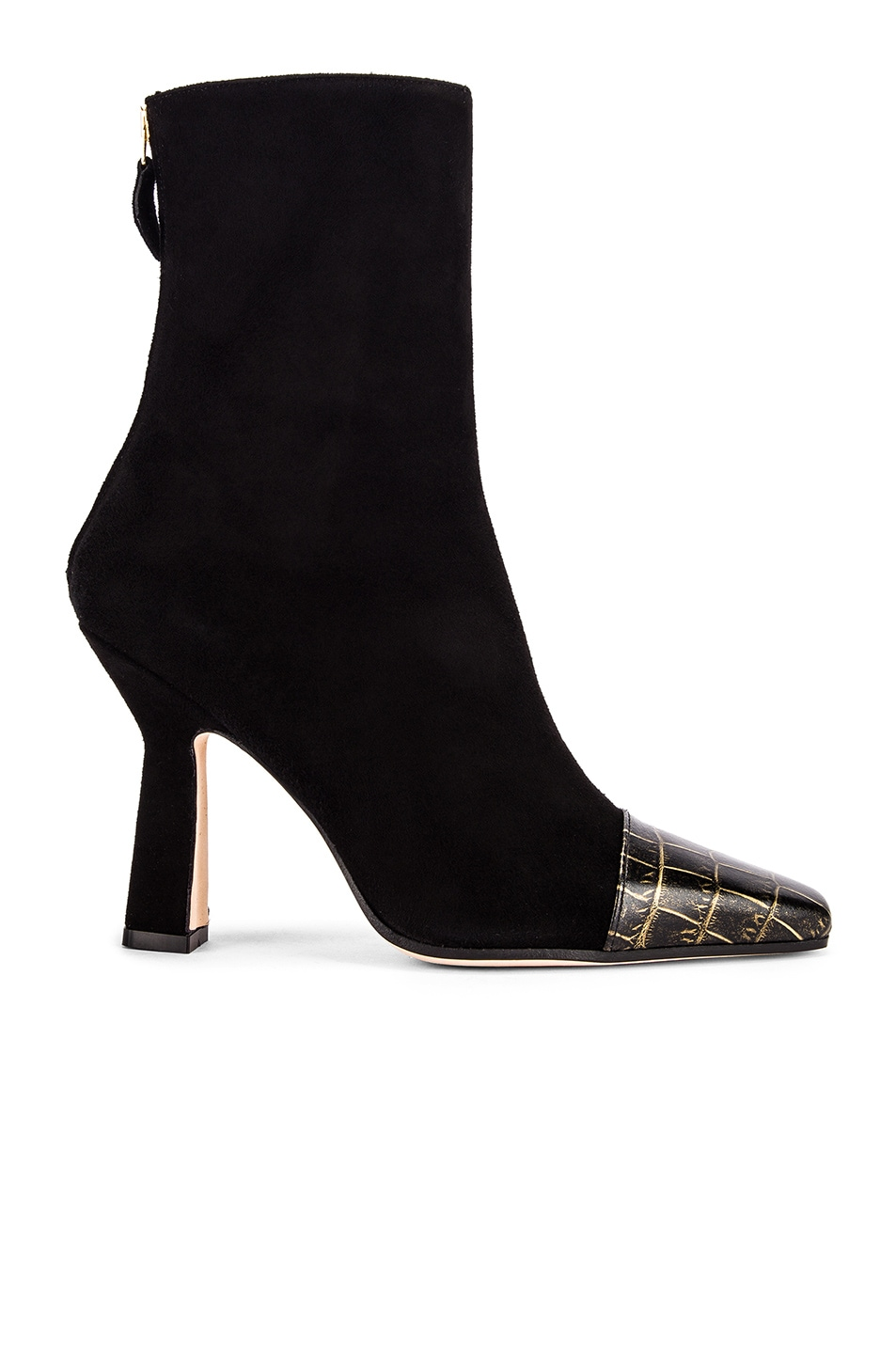 Image 1 of Paris Texas Suede and Croco Square Toe Ankle Boot in Black