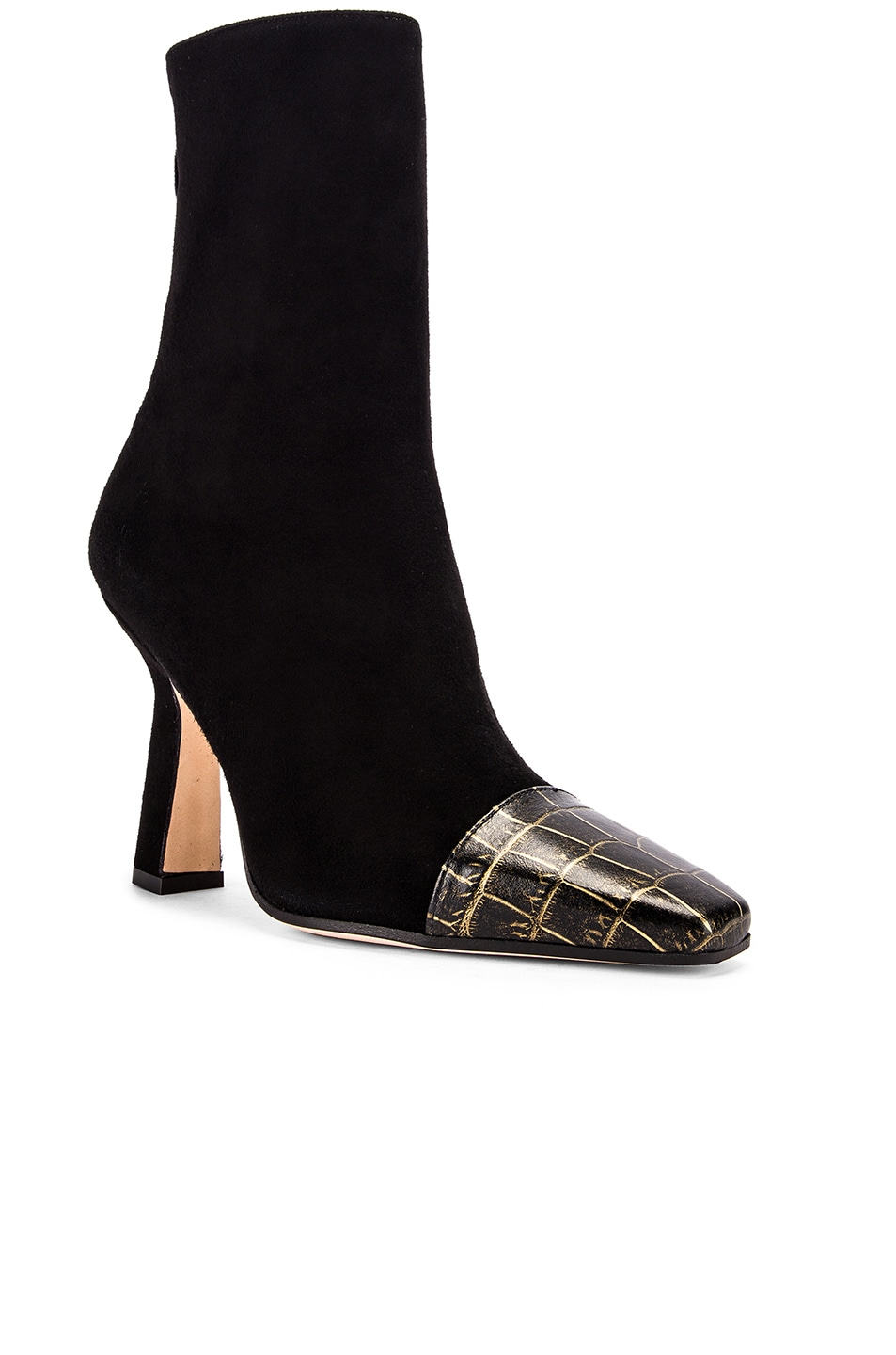 Image 2 of Paris Texas Suede and Croco Square Toe Ankle Boot in Black