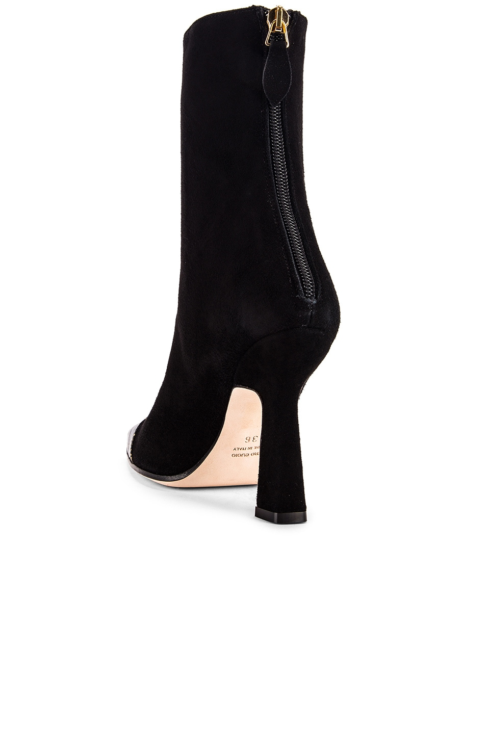 Image 3 of Paris Texas Suede and Croco Square Toe Ankle Boot in Black