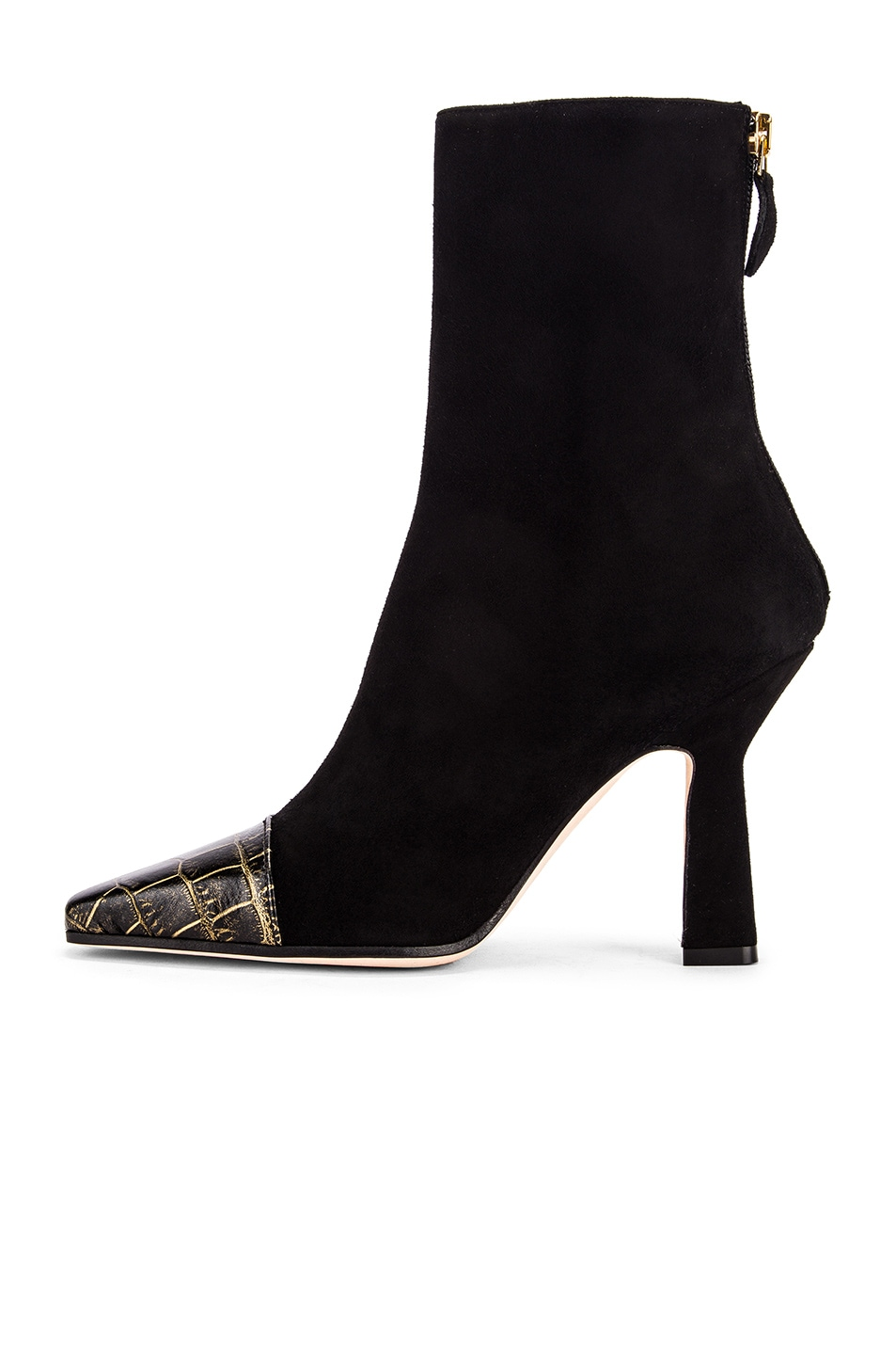 Image 5 of Paris Texas Suede and Croco Square Toe Ankle Boot in Black