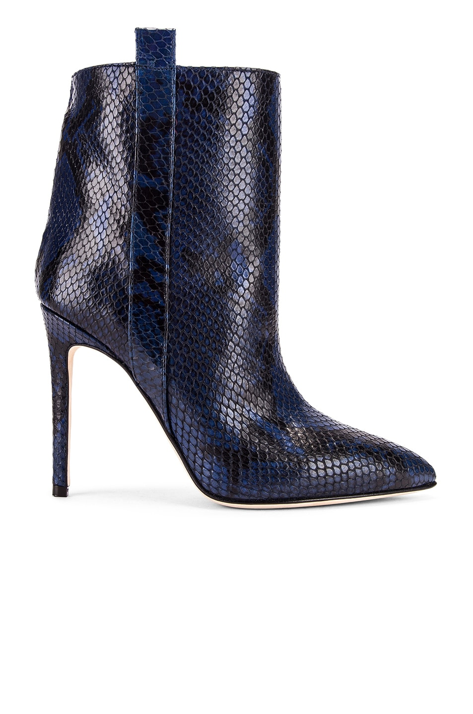 Image 1 of Paris Texas Snake Print Ankle Boot in Navy