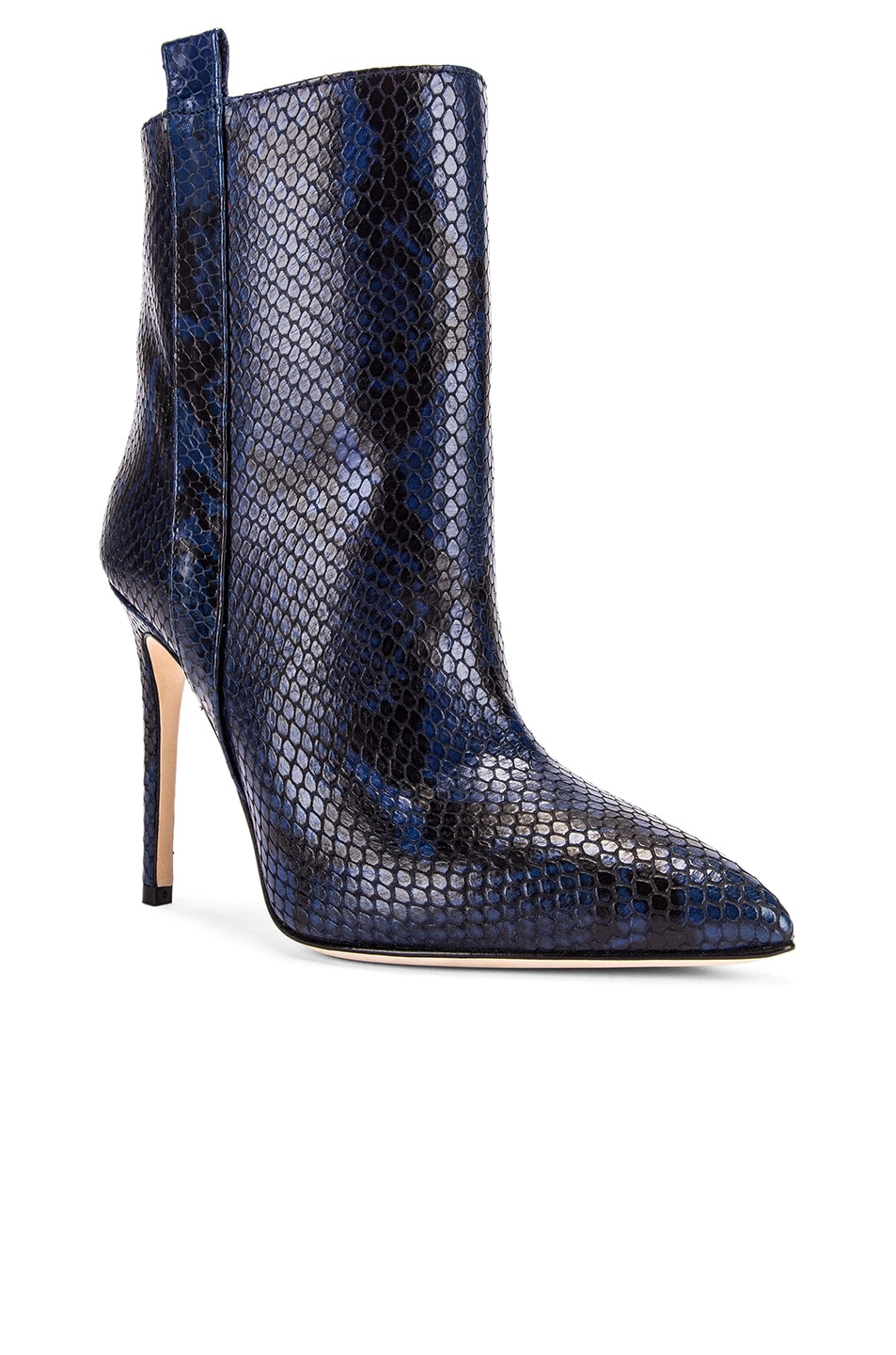Image 2 of Paris Texas Snake Print Ankle Boot in Navy